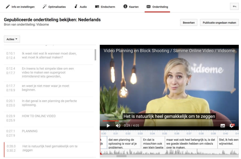 YouTube captions tool voorbeeld